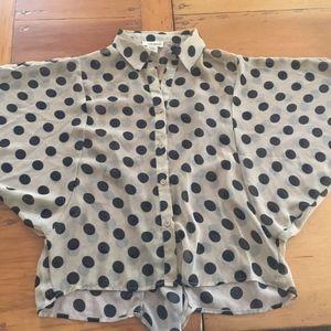 SANS SOUCI tan black dotted bat wing sleeve blouse