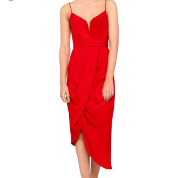 Zimmermann Dresses Silk Red Plunge Drape Dress Poshmark