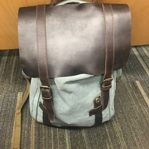 Handbags - Leather and canvas backpack