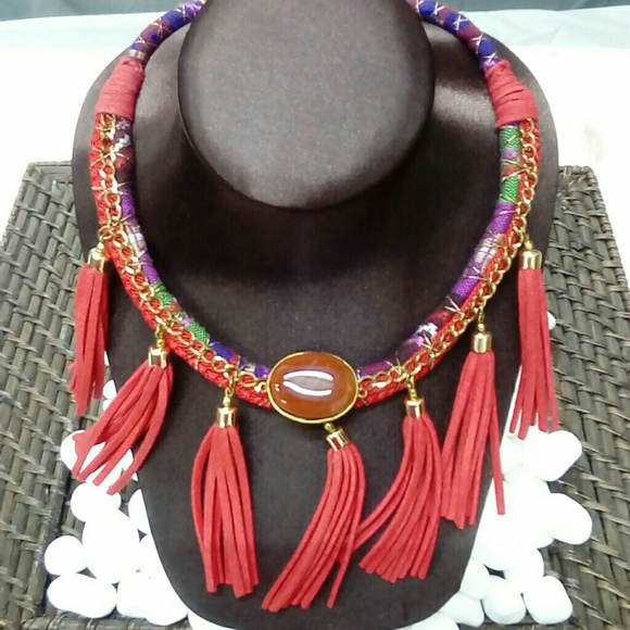 Deja Vous Jewelry - NWT Handmade Red Tassel Necklace