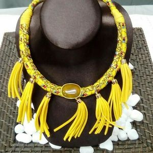 NWT Handmade Yellow Tassel Necklace