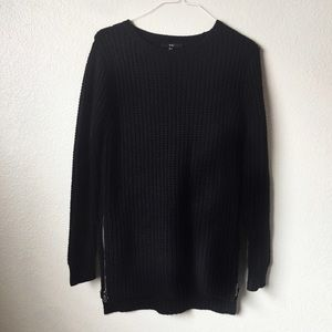 Black Knit Sweater with side zippers