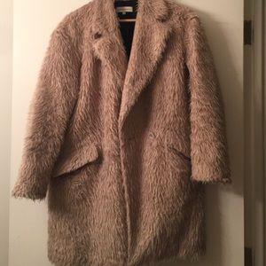 Rebecca Minkoff faux fur shag coat blush