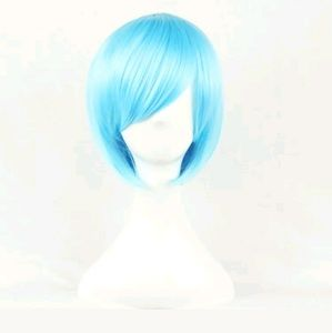 💙NEW Blue Medium Length Cosplay Wig Anime Unisex