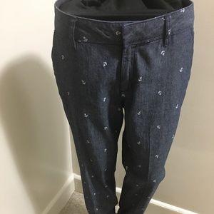 100% Cotton Anchor Print Fit Ankle Pants