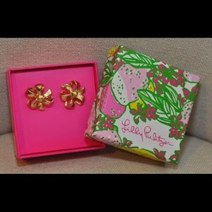 LILLY PULITZER Gold Metallic Bow Tie Earrings