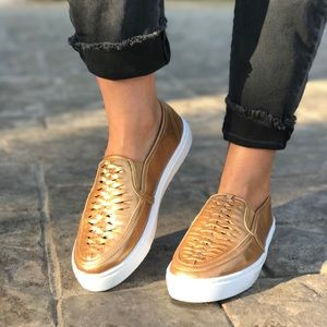 Gold Perforated Woven Slip On Sneakers