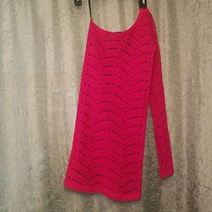 One sleeve BEBE Shirt Stretchy Material Sz M Red