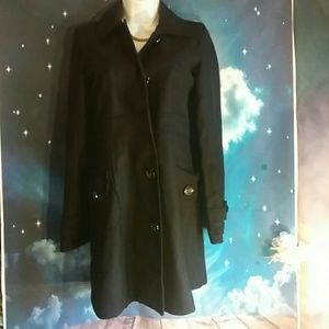 Dark blue wool trench coat