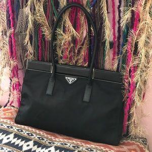 PRADA large nylon/ leather handbag black