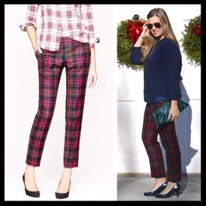 j. crew // red tartan plaid wool cafe capri pants