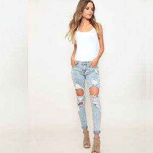 Denim - Distressed Mid Rise Skinny Denim Jeans