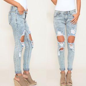Denim - Distressed Mid Rise Skinny Denim Jeans