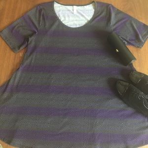 LuLaRoe Large Perfect Tee Purple and Gold