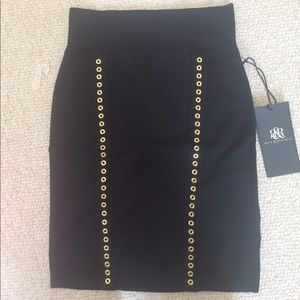 Black Skirt with Gold Embellishment