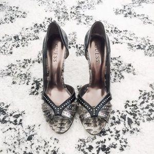 Guess 'Gwerinna' Studded Snakeskin Peep Toe Heels