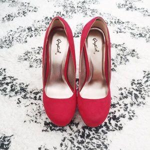 NEW Red Suede Heels