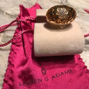Enamel and crystal gold fashion ring