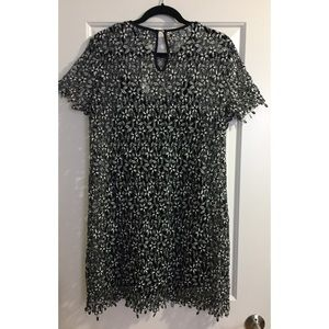 RD + Koko Dresses - Black and White Floral Lace Shift Dress