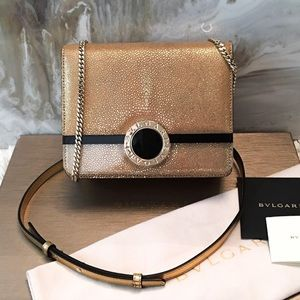 BVLGARI Gold Stingray Acrylic Cover Flap Chain Bag