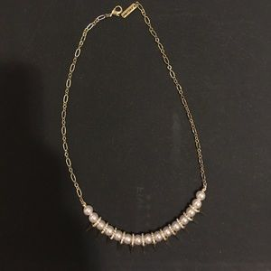 Pearl, rhinestone and spike modern necklace