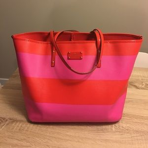 Kate Spade Pink Red Striped Tote