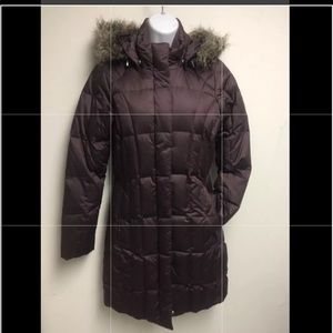 Eddie Bauer chocolate quilted long goose down coat