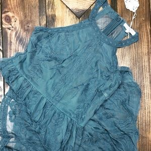 60abfed05d8a Honey Belle Dresses - Teal Halter Lace Maxi Romper