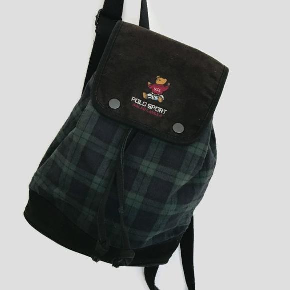 af70657b6c Vintage Polo Sport Ralph Lauren USA Bear Backpack.  M 59af409afbf6f9fa2c017da4