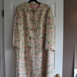1960's Cream Floral BROCADE Formal Gown and Coat!
