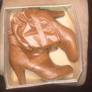 Brown low heel boots