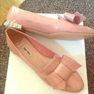 Miu Miu Patent Jeweled Heel Bow Flats Pink, 39.5