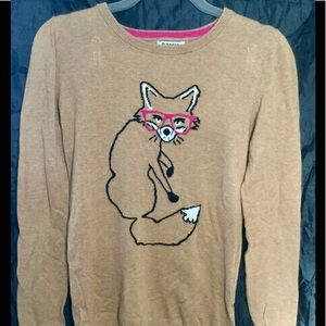 Old Navy fox knit sweater Sz S