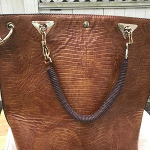 Alligator skin tan colored tote with handle