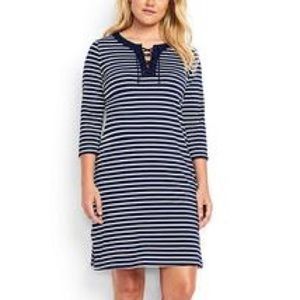 NEW Lands' End Lace Up Cover-Up Dress