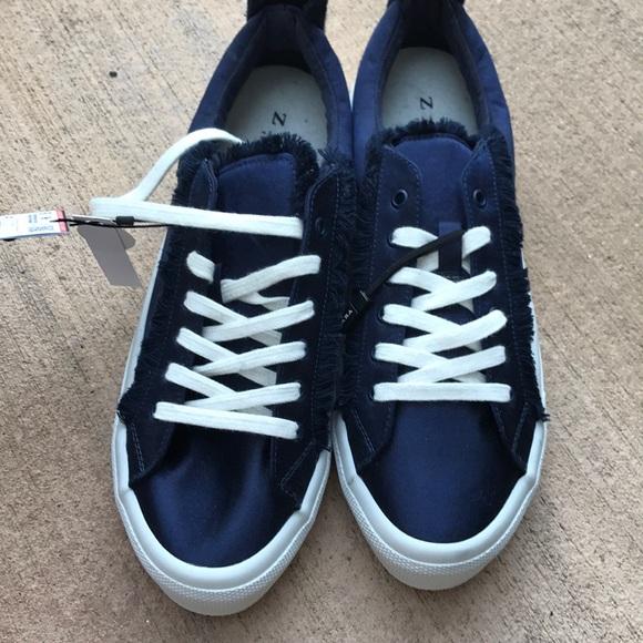907a5207915 Zara Shoes   Blue Satin Sneakers   Poshmark