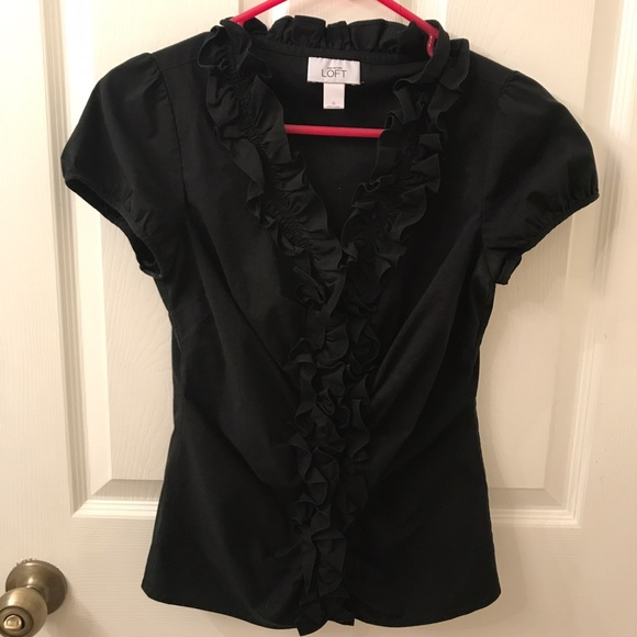 LOFT Tops - LOFT Black Ruffle Blouse