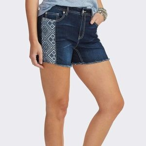 Pants - Frayed Aztec Inset Jean Shorts