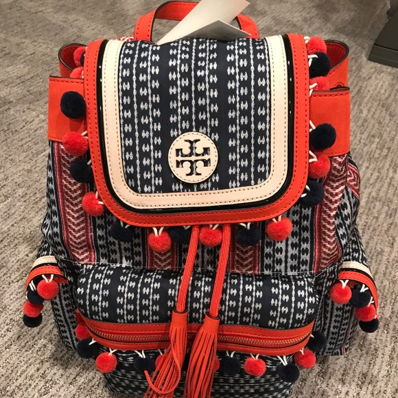 bfa628241ae Nwt Tory burch scout Pom Pom backpack red