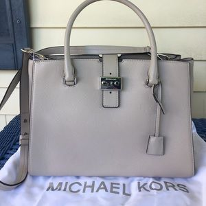 NWT Michael Kors Bond Cement Colored Large Satchel