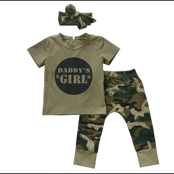 eac3b50a5 New Camo Army 3 pc daddy's girl outfit. M_59af5b13713fde21df02156c