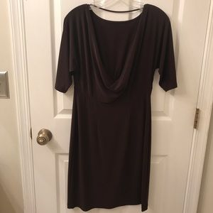 Scoop Back Brown Dress