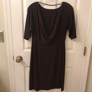 Scoop Back Brown Dress