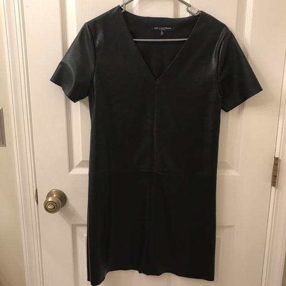 Dresses & Skirts - Faux Leather Short Sleeve Mini Dress