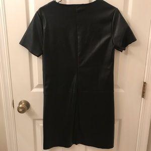 Dresses - Faux Leather Short Sleeve Mini Dress