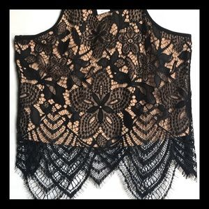 Express Tops - NWT Express Lace Crochet Tank Crop Size XS Black