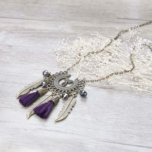 Vintage Necklace Antique Brass Chain Purple Tassel