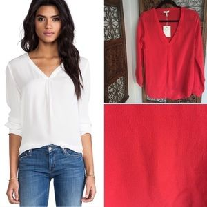 Joie // Silk V Neck Blouse in Red