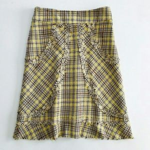 Anthropologie Elevenses Yellow Plaid Tweed Skirt