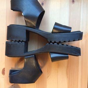 Really cute black wedge sandals!